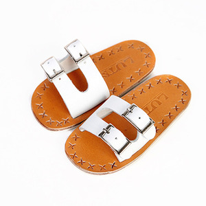 SBS-07 BUCKLE SLIPPER (White)