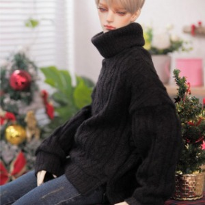 [Pre-Order][GSDF]Twisted turtle-neck knit(Black)